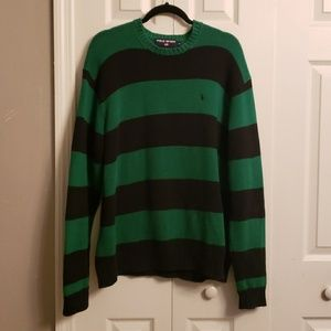 Black and Green Striped Mens Polo Sport Sweater